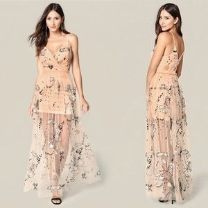 Marielle Double V Embroidered Gown